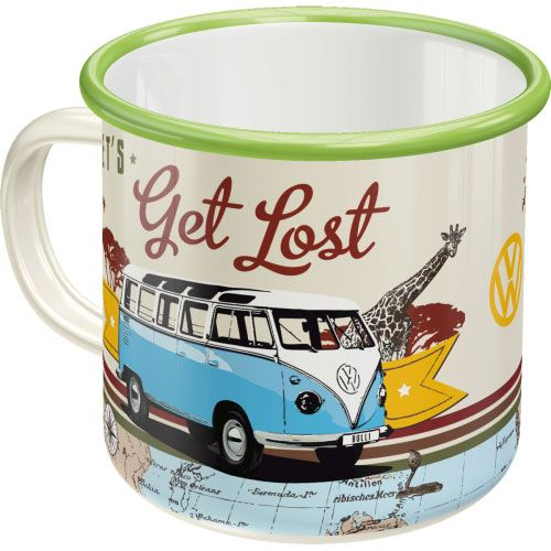 Emaille-Becher-VW-lets get lost-hinten
