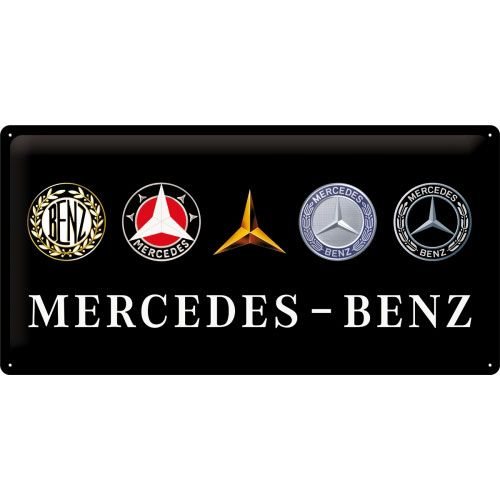 Blechschild-25x50-Mercedes-Benz-Logo-Evolution-vorn