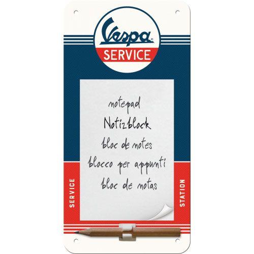 Notizblock-Schild-Vespa-Service