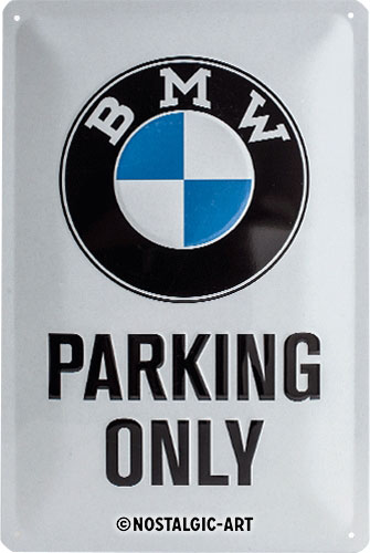 blechschild-20x30-bmw-parking-only-white