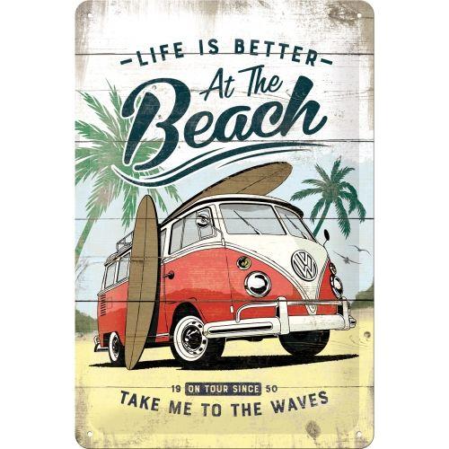 Blechschild-20x30-VW-Bulli-Beach-Blechschild