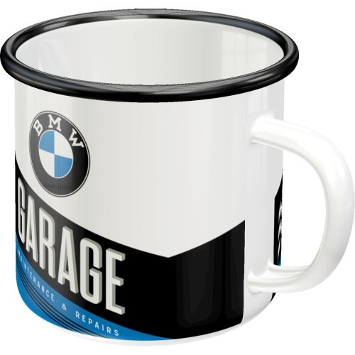 Emaille-Becher-BMW-Garage-vorn