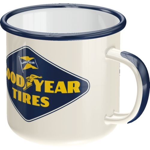 Emaille-Becher-Goodyear-Logo-White-vorn