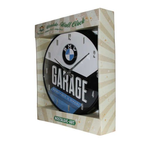 Wanduhr-BMW-Garage-verpackt