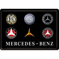 Blechpostkarte-Mercedes-Benz-Logo-Evolution