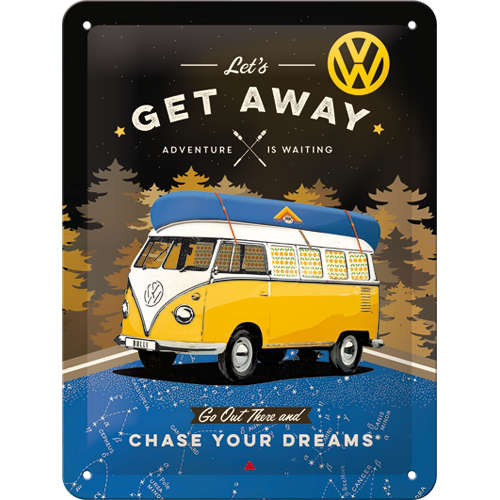Blechschild-VW-Bulli-Lets-Get-Away-Night