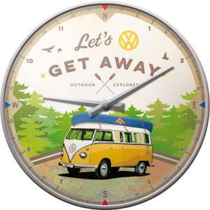 Wanduhr-VW-Bulli-Lets-Get-Away