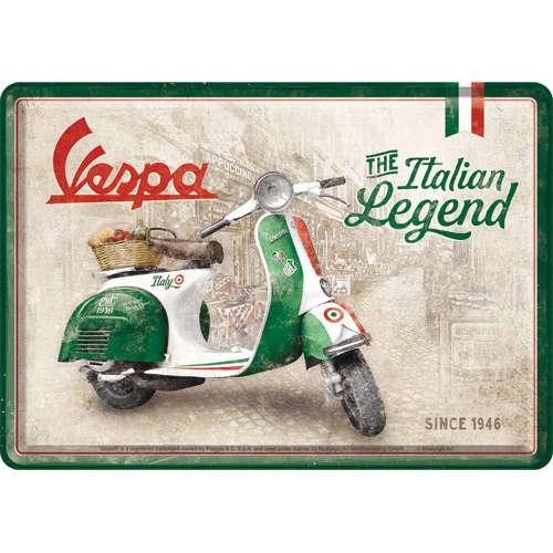 Blechpostkarte: Vespa - Italian Legend