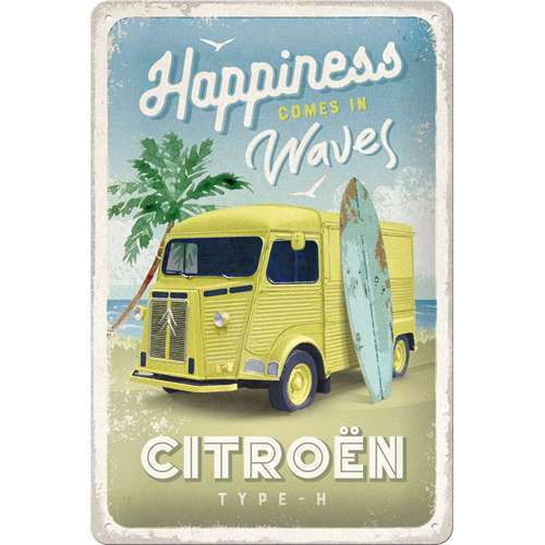 Blechschild 20x30 Citroen Type H Happiness Comes In Waves
