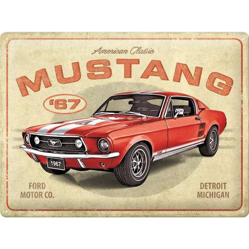Blechschild 30x40 Ford Mustang GT 1967 Red